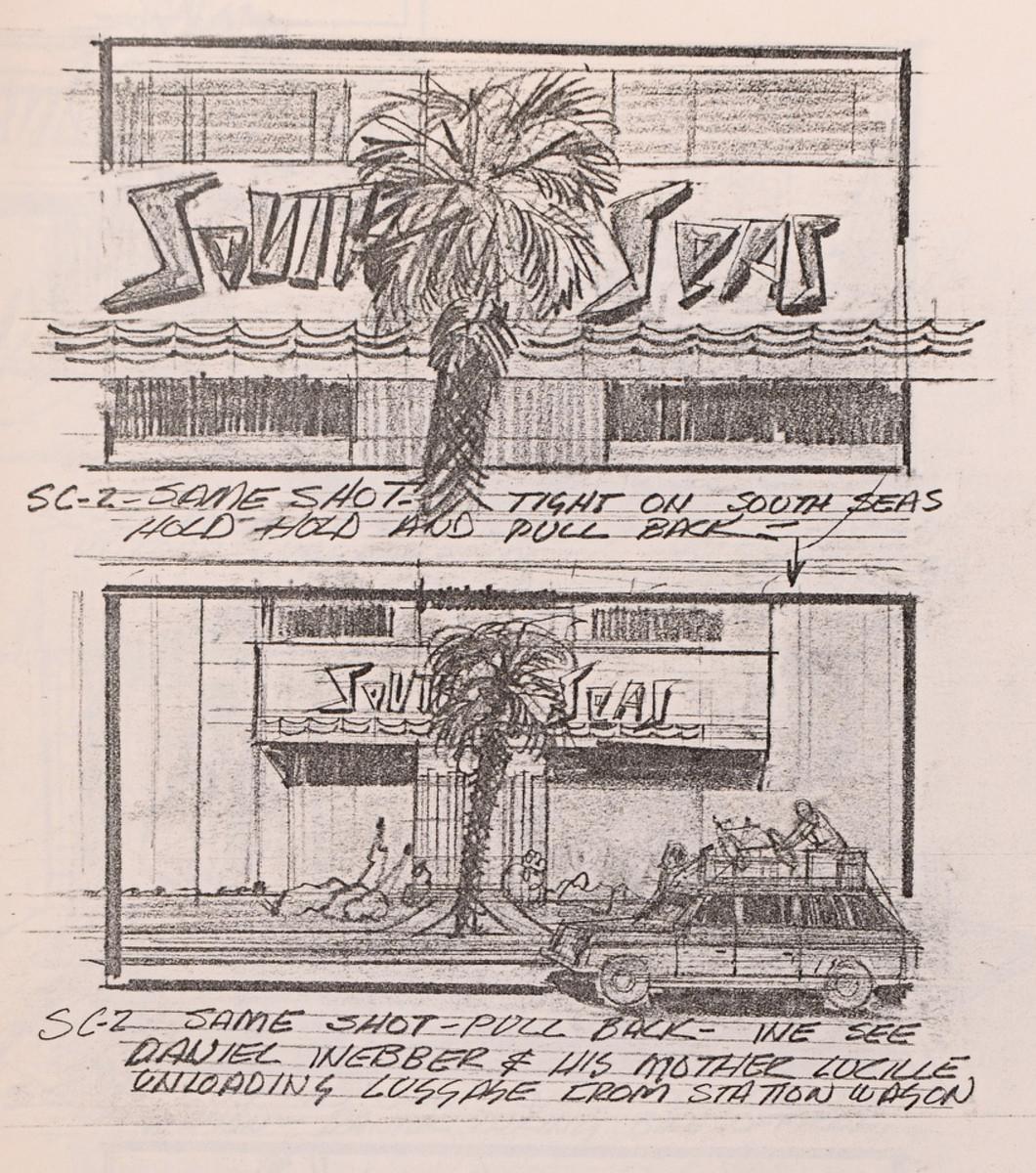 Storyboard: South Seas scene in Los Angeles.