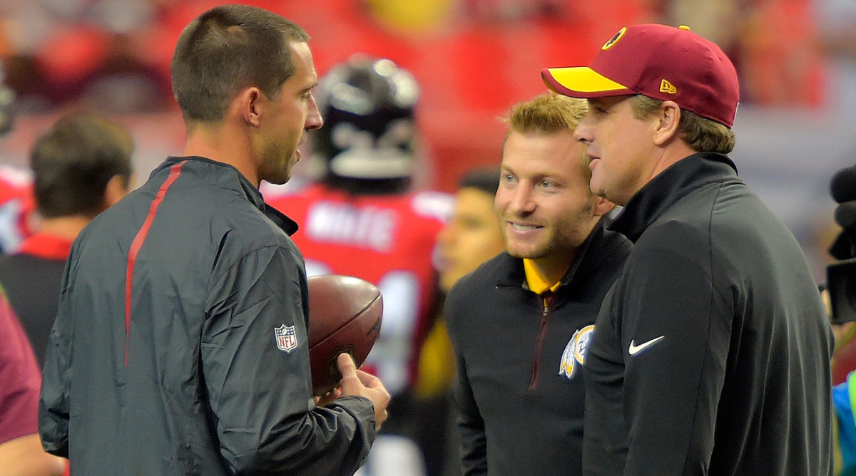 Shanahan, as Falcons coordinator, with McVay, then the Redskins' coordinator, and Washington coach Jay Gruden in 2015.