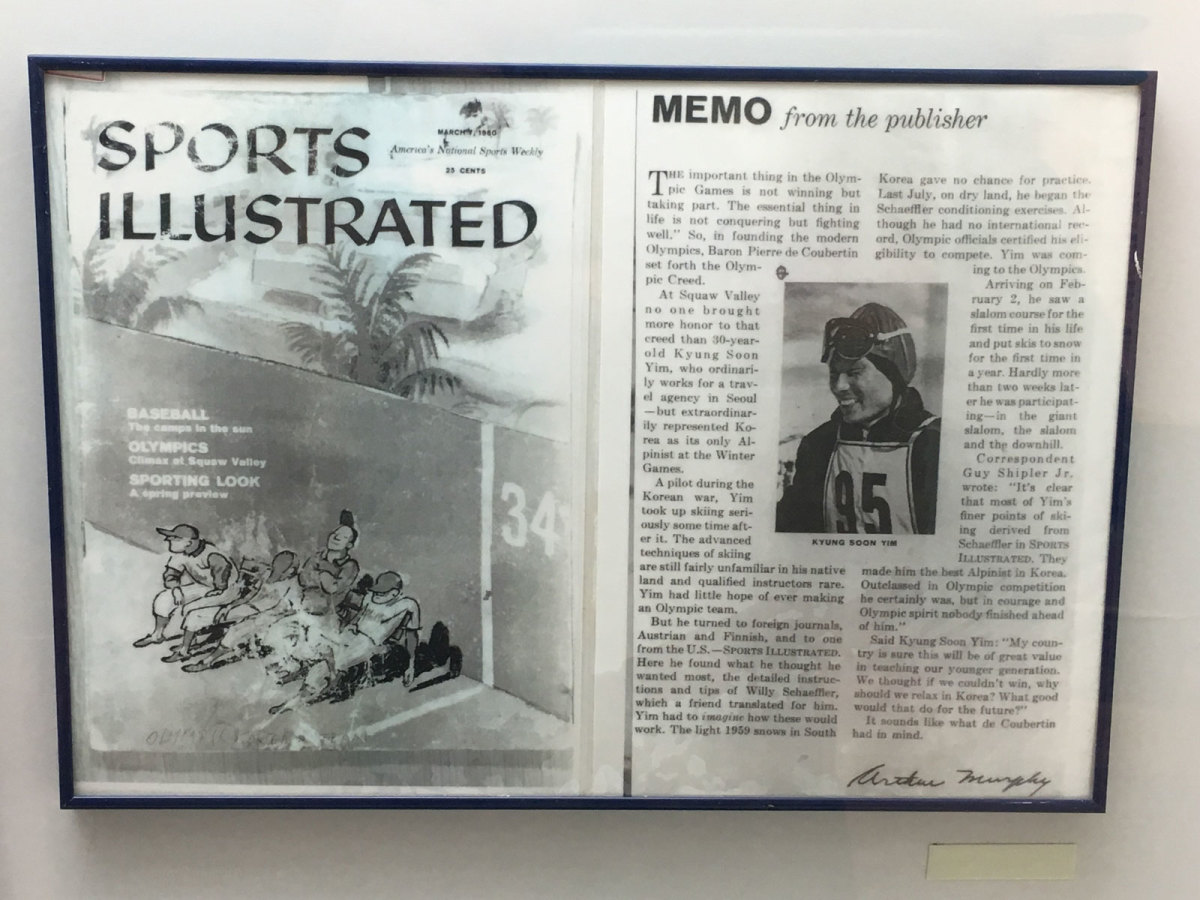 The framed 1960 issue of SI in the ski jumping venue's museum.