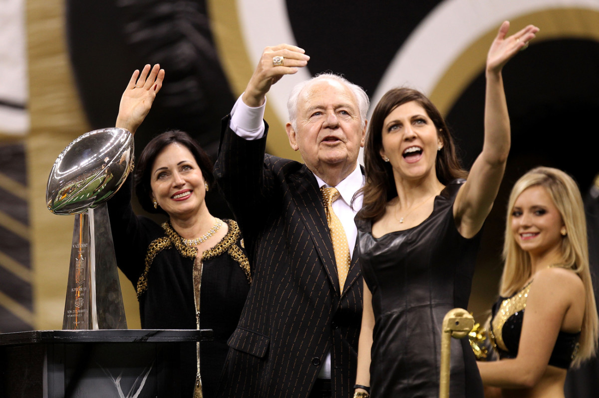 Gayle, Tom and Rita Benson in happier times, celebrating the Saints' Super Bowl victory in 2010.