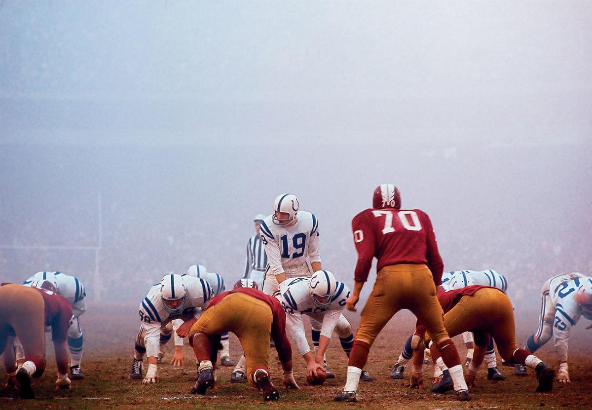 John Unitas, the ultimate field general, Baltimore vs. Washington, December 1964.