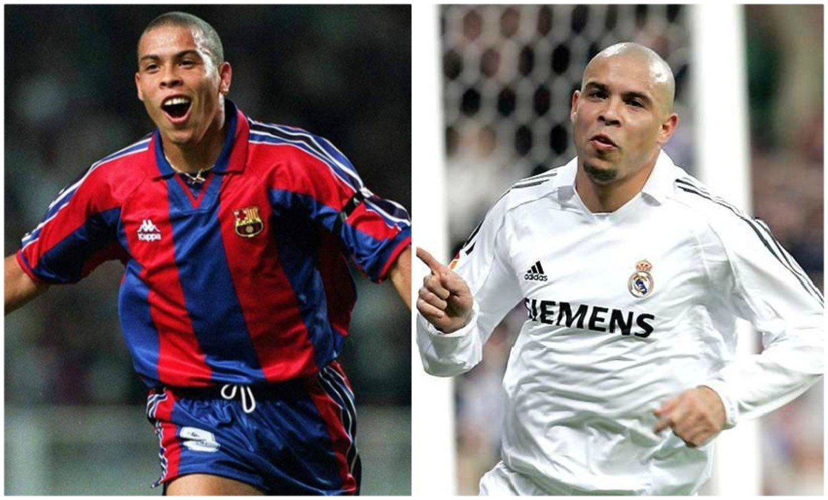 Ronaldo Nazario playing with FC Barcelona (left) and Real Madrid (right). Copyright: FC Barcelona and BeSoccer
