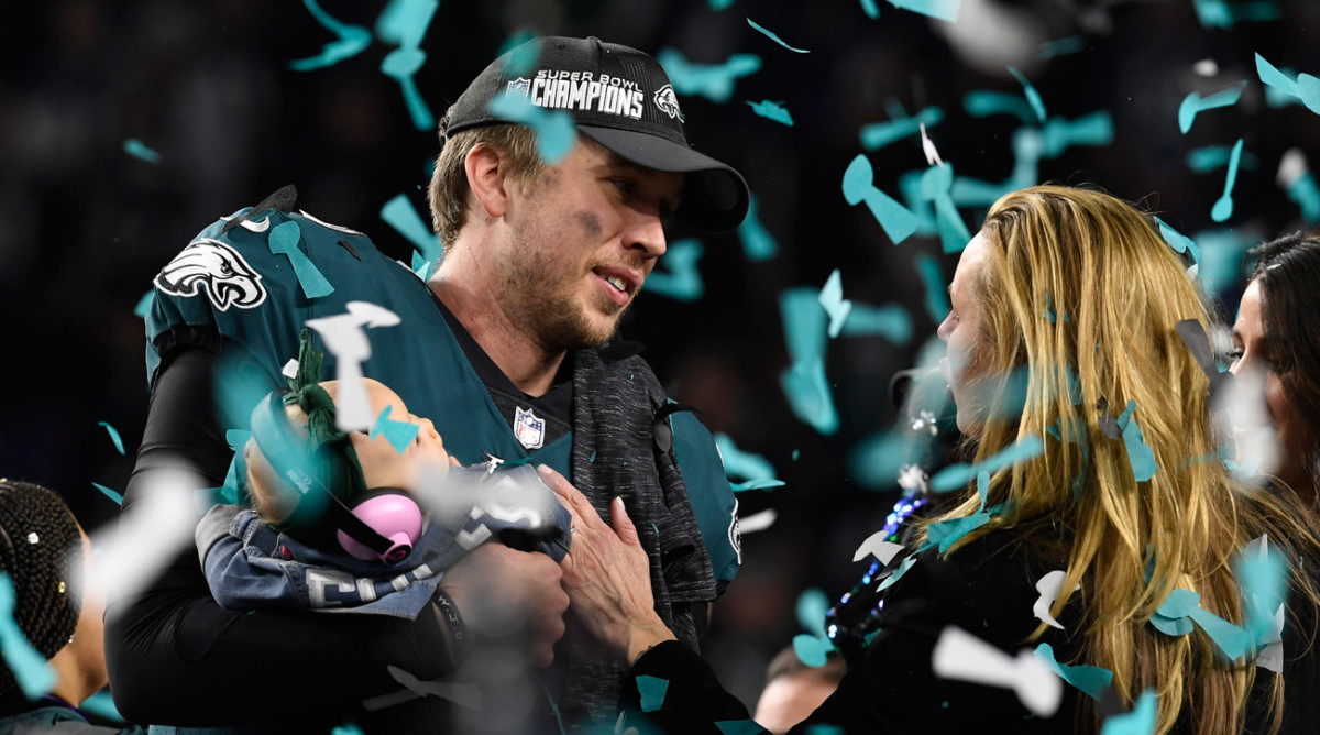 Foles, who nearly quit two years ago, basked in the confetti with his wife and daughter.