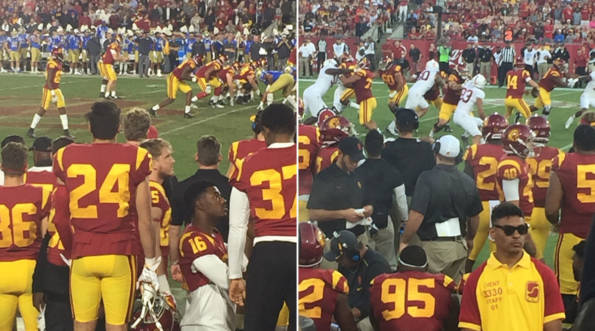 GM's-eye view: As he did when scouting other QBs, Maccagnan bought a seat in the front row behind the Trojans bench, to get as close to the action as possible and better see how Darnold interacted with his teammates.