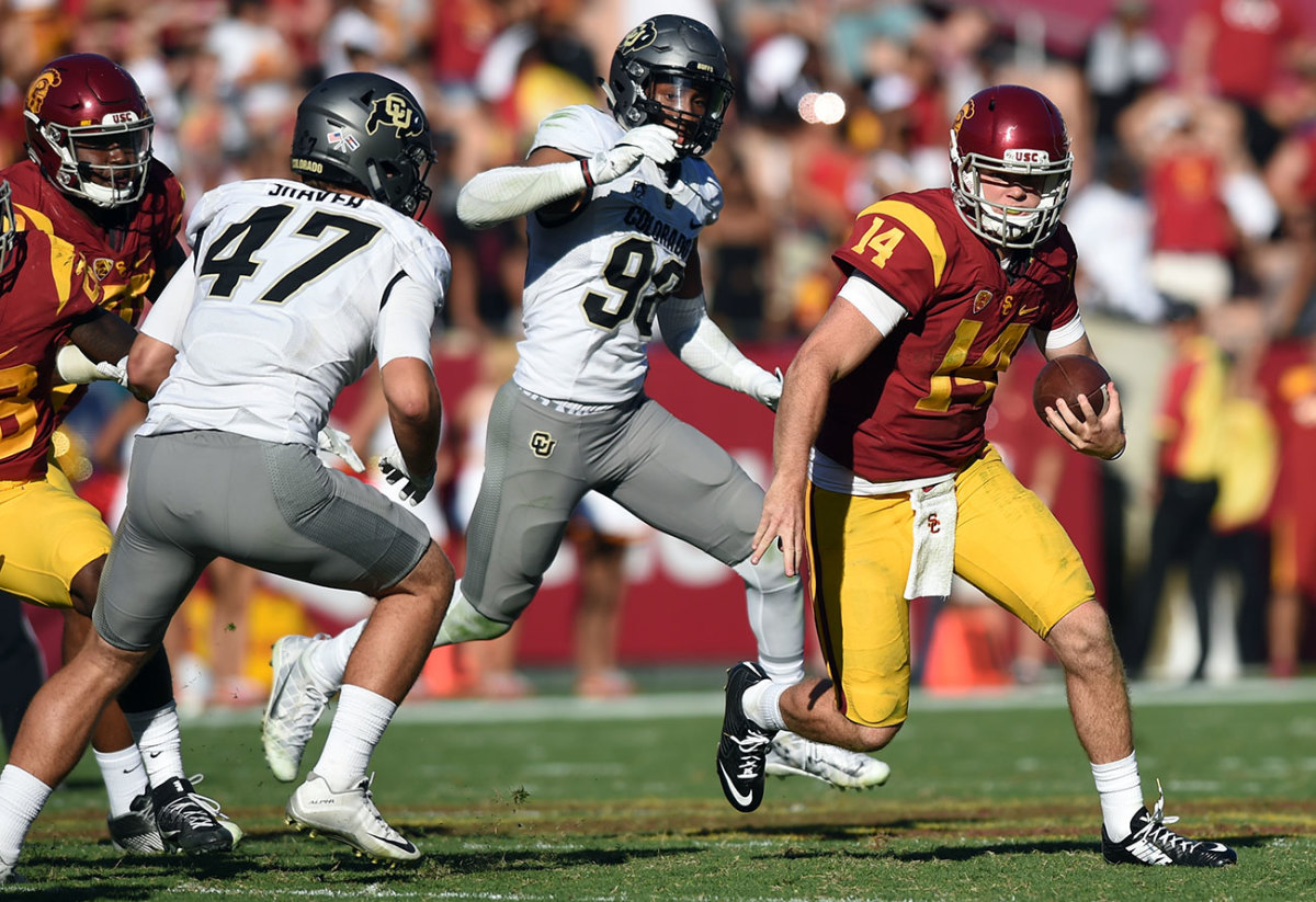 The Jets were taken with Darnold's play speed against Coloardo in 2016.