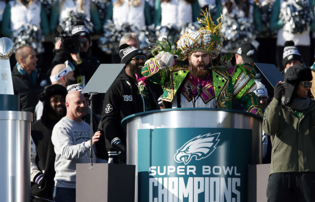 In full Mummers' get-up, Kelce launched into a memorable rant during the Super Bowl celebration, defending his fellow linemen and the city of Philadelphia.