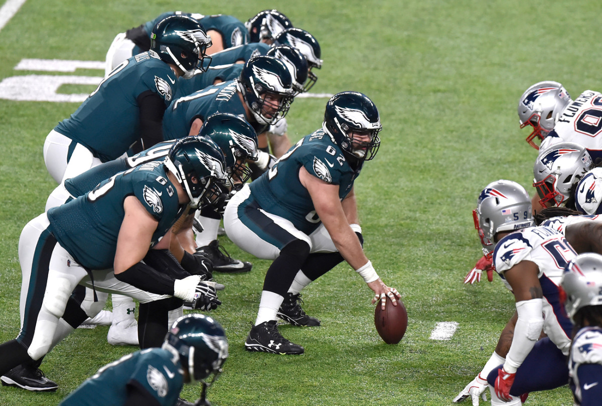 In the Super Bowl, the line was prepared for everything the Pats threw at them; Foles wasn't sacked once, and the Eagles amassed the most yards ever given up by a Belichick-coached Patriots defense.