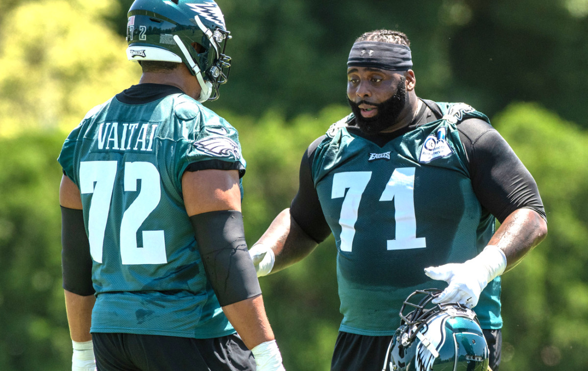 Peters (71) will be returning to the starting spot where Vaitai so ably filled in after the All-Pro went down in midseason last year.