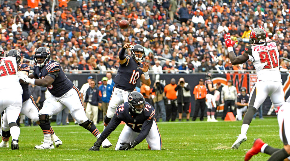 Trubisky tossed six TDs in a blowout of the Bucs.