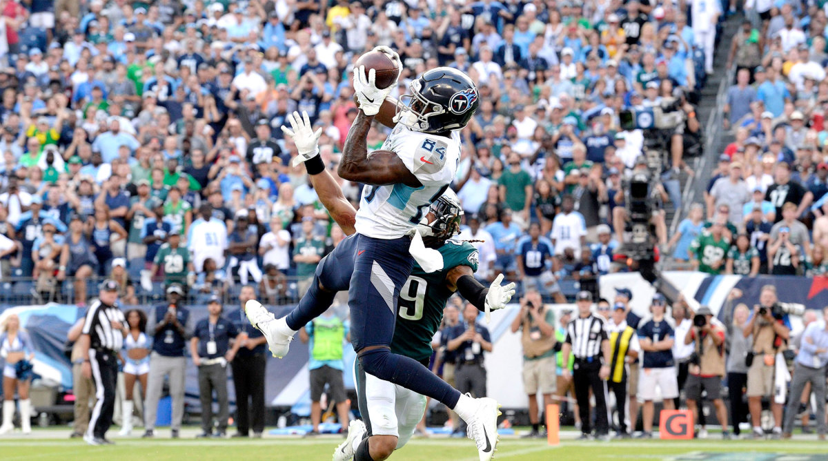 After the Titans' converted on fourth down, Corey James hauled in the game-winning TD from Marcus Mariota.