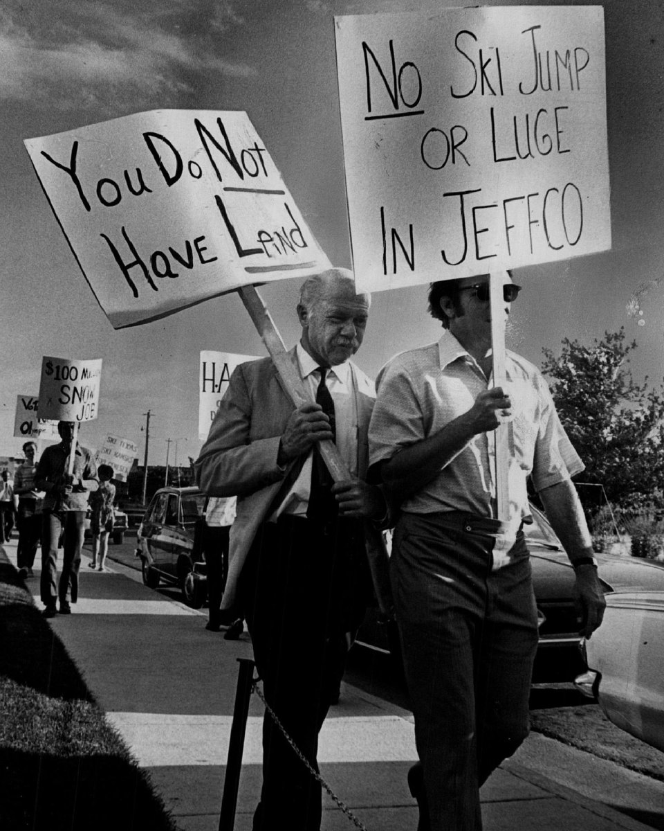 Protesters march in opposition of the 1976 Denver Games.