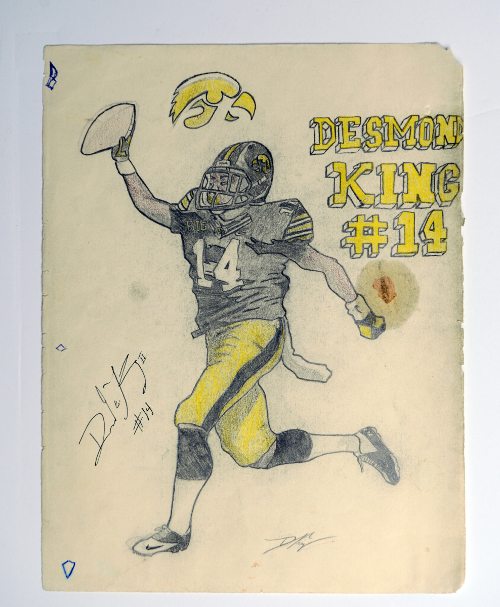 One of Devon's early drawings of his brother, when Desmond was an Iowa Hawkeye.