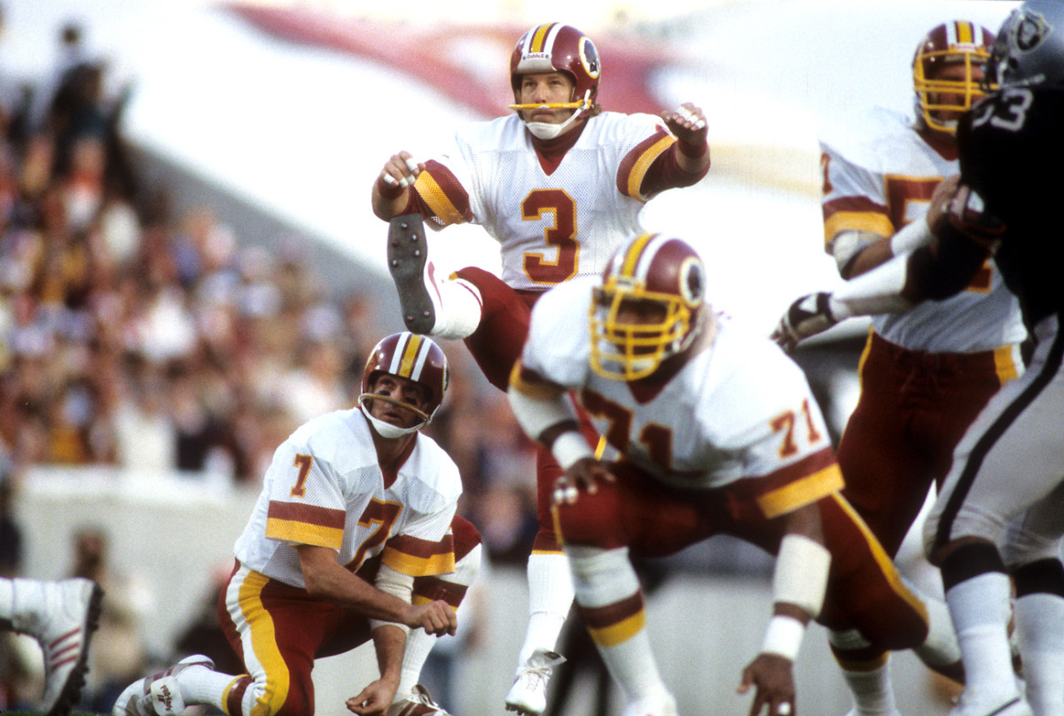 Moseley had a then-record 20 straight field goals in his MVP season in '82, and he kicked in back-to-back Super Bowls for the Skins.