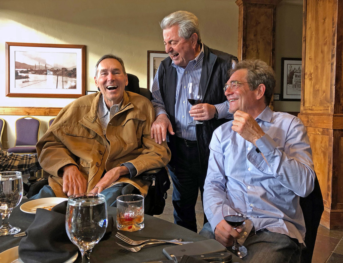 Dwight Clark, Carmen Policy and Huey Lewis.