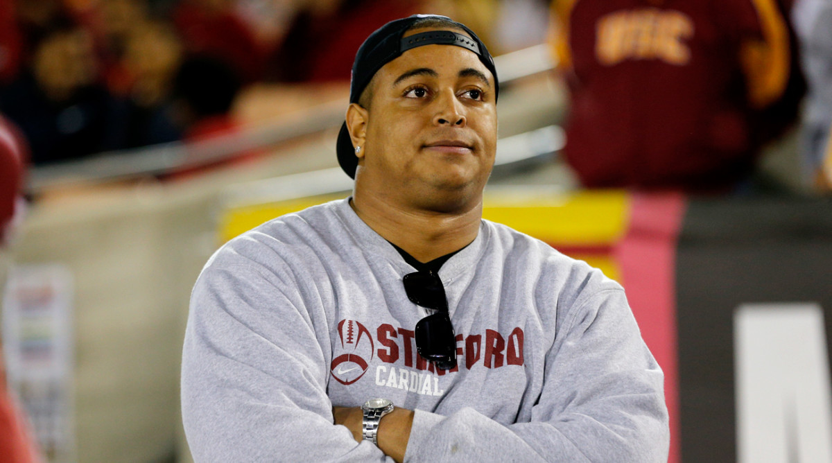 On the sideline of a Stanford-USC game in 2013.