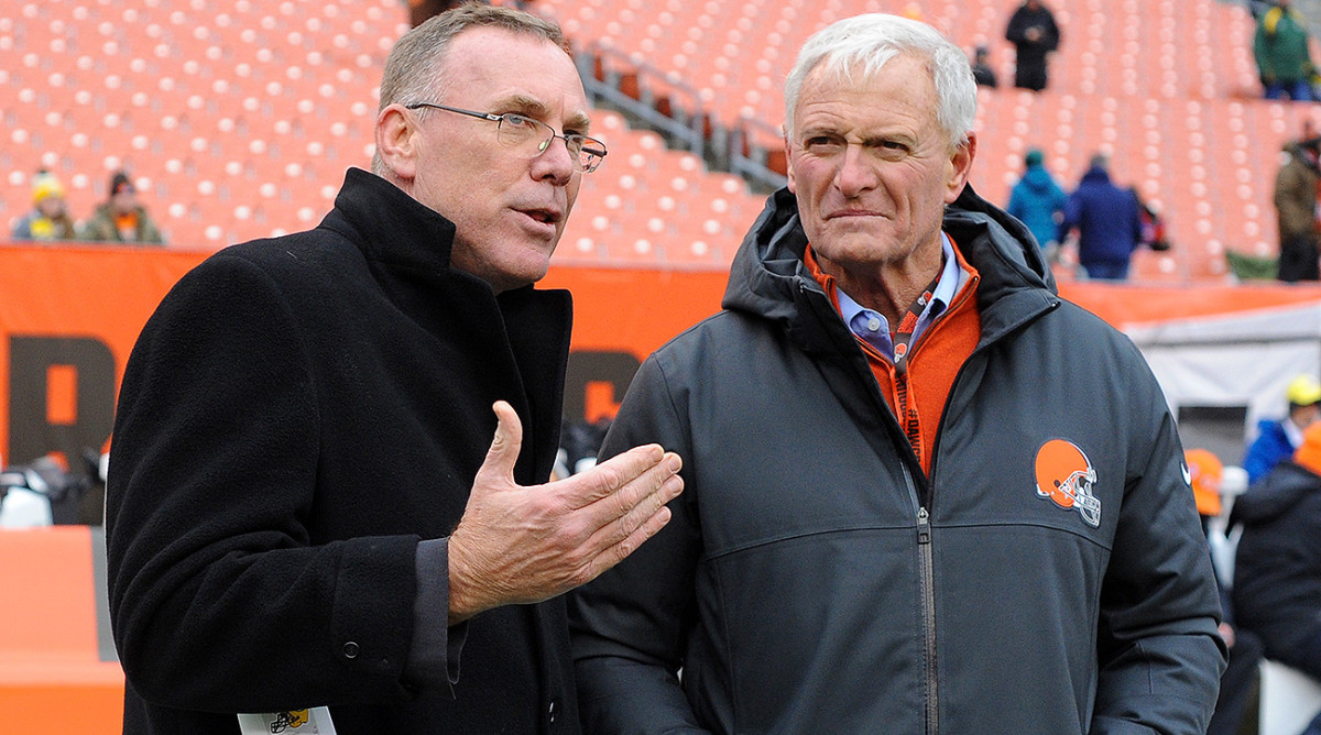 Browns GM John Dorsey (left) and owner Jimmy Haslam.