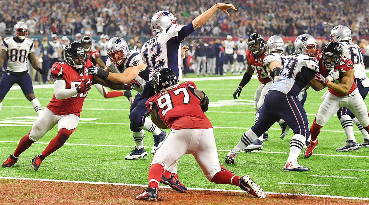 Grady Jarrett (97) pulls down Tom Brady for one of his three sacks in Super Bowl LI.