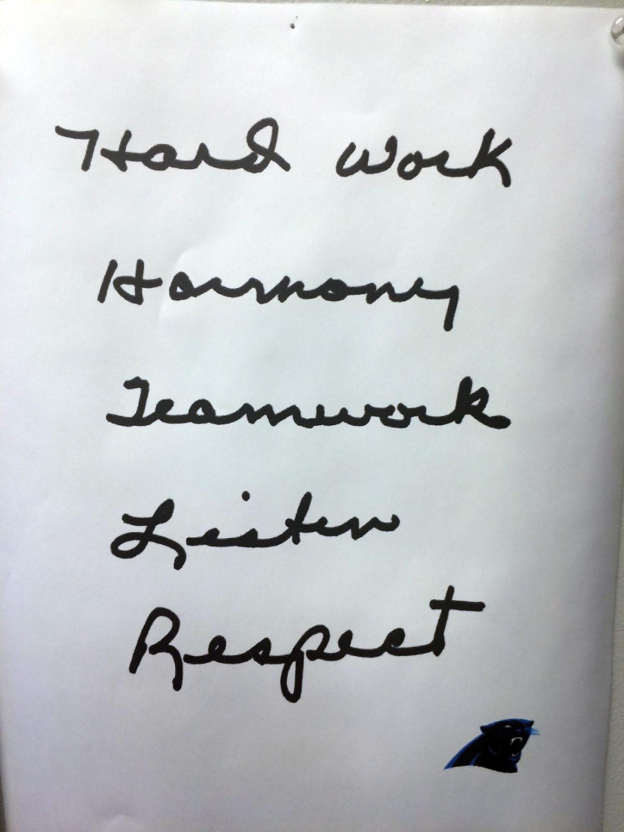 Richardson gave a note to every Panthers employee, players included, that outlined a list of his five core principles: hard work, harmony, teamwork, listen, respect.