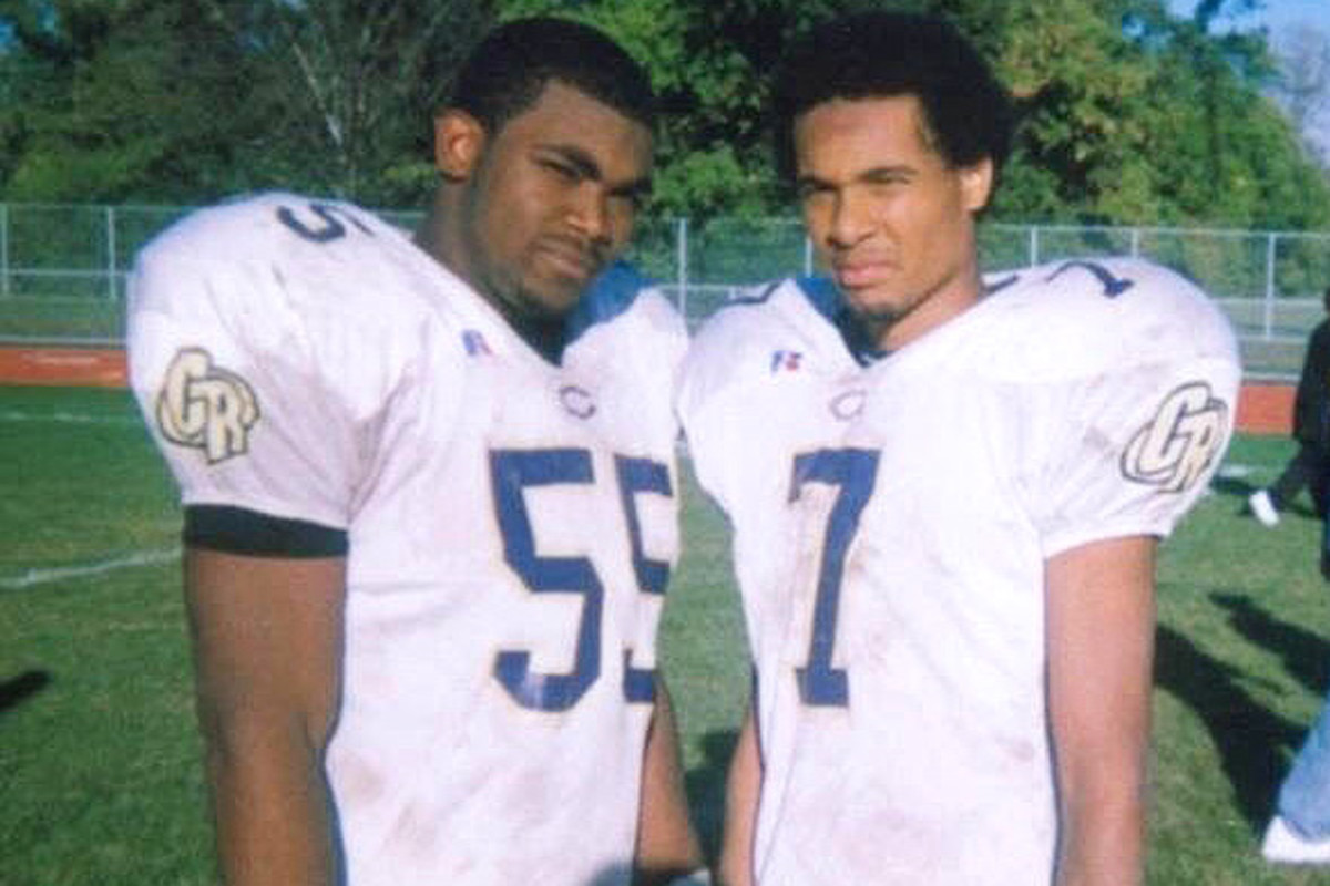 Brandon Graham (left) during his high-school years in Detroit.