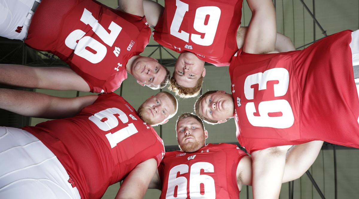 Wisconsin's front five: Jon Dietzen (67), Michael Deiter (63), Beau Benzschawel (66), Tyler Biadasz (61) and David Edwards (79)