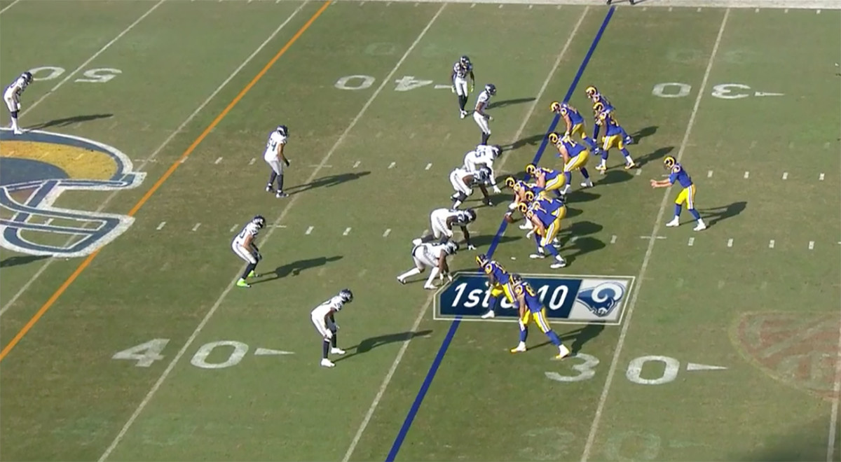 Here, Seahawks CB Tre Flowers was aligned across from Tyler Higbee at the bottom of the image, signaling to the Rams that the Seattle defense was in zone coverage.