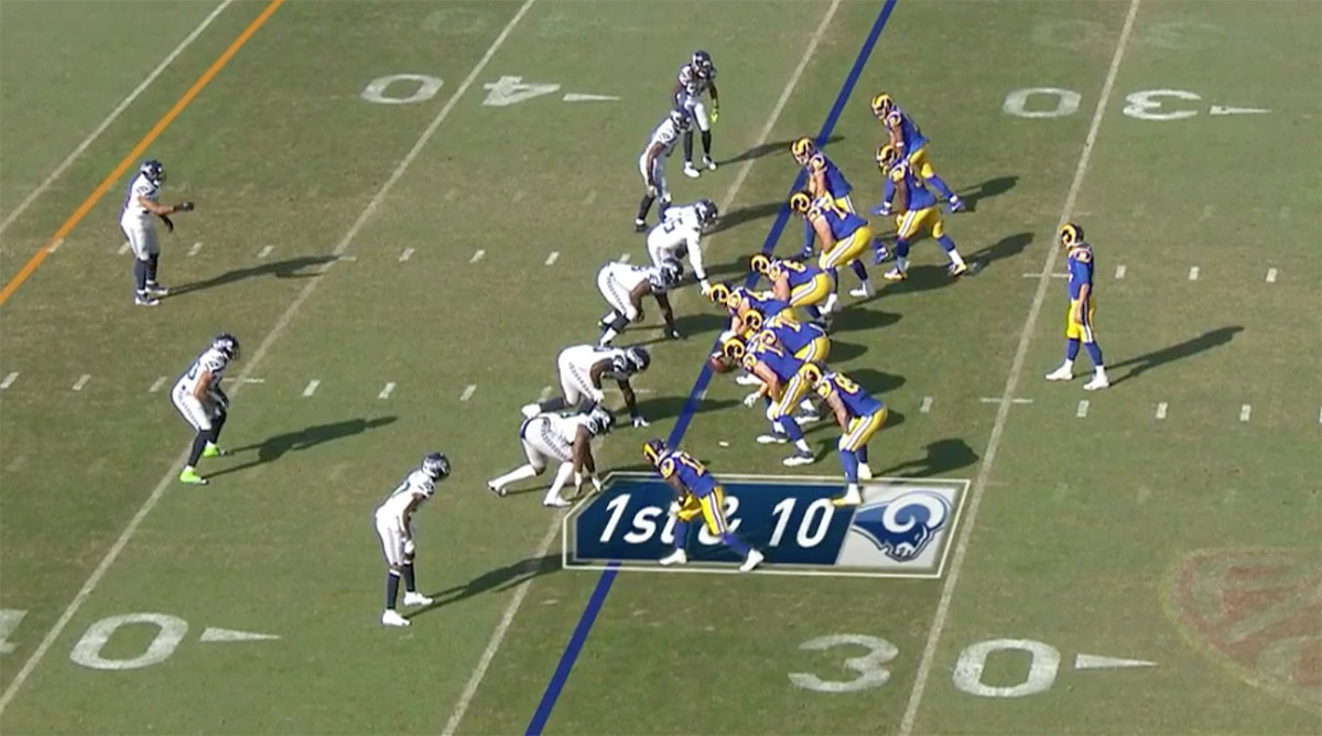 Here, TE Tyler Higbee is in tighter, leaving Brandin Cooks as the furthest outside receiver to the left (at the bottom of the image).