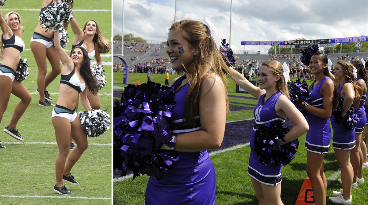 On the left, the Philadelphia Eagles cheerleaders at an opening-week game in 2016. On the right, the more reasonably clothed Northwestern University cheerleaders at an opening-week game in 2014 (the author of this article is fourth from the left).