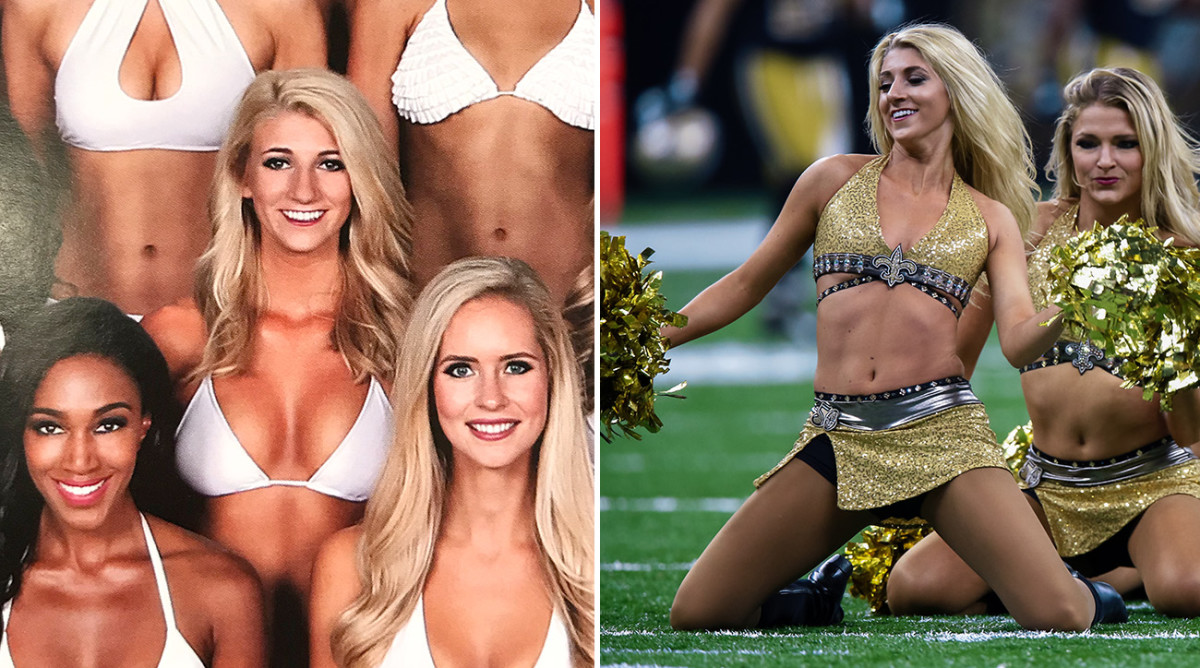 Davis in the altered swimsuit calendar photo (left), and performing at a game during the 2016 season (right).