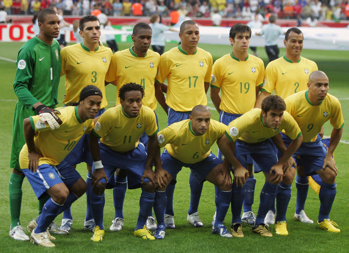 Members of the Brazil team pose at the s