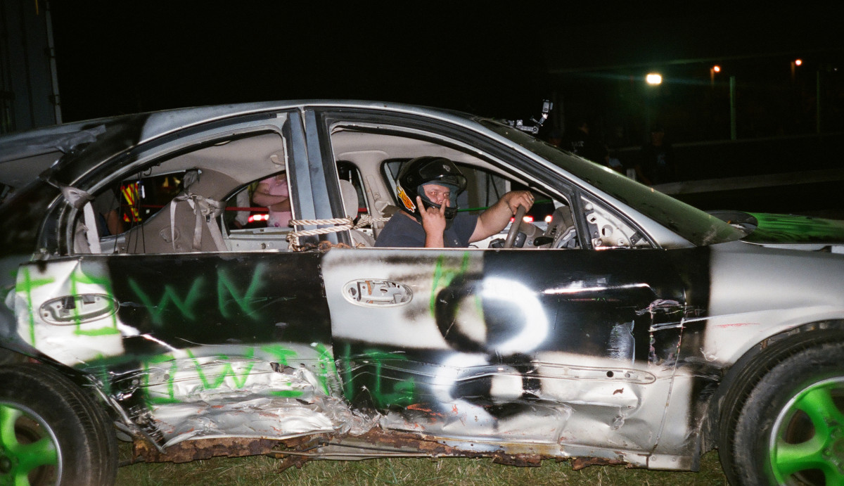 Joey Werner celebrates his first demo derby victory.