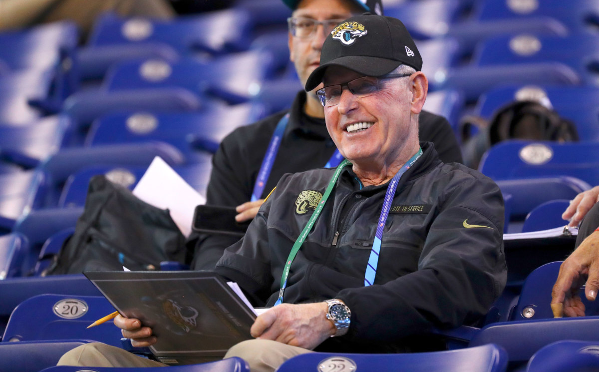 Coughlin's been sitting in the same spot for the combine 40—eight rows up at the 10-yard line—for more than two decades.