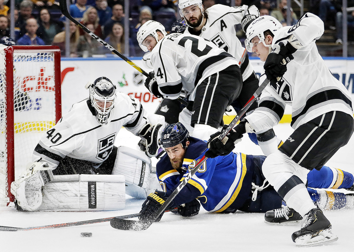 Los Angeles Kings goalie Calvin Petersen against the St. Louis Blues' Ryan O'Reilly