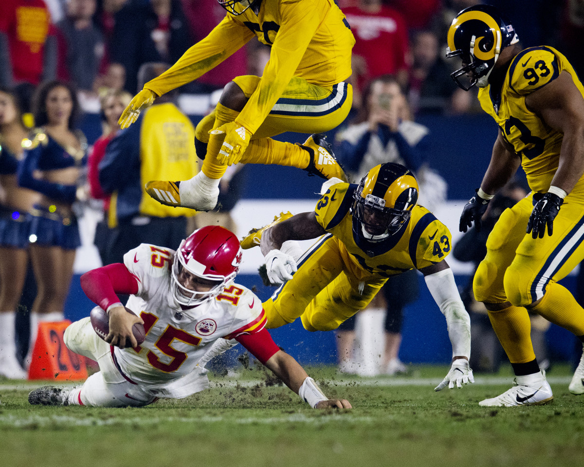 Kansas City Chiefs QB Patrick Mahomes against the Los Angeles Rams