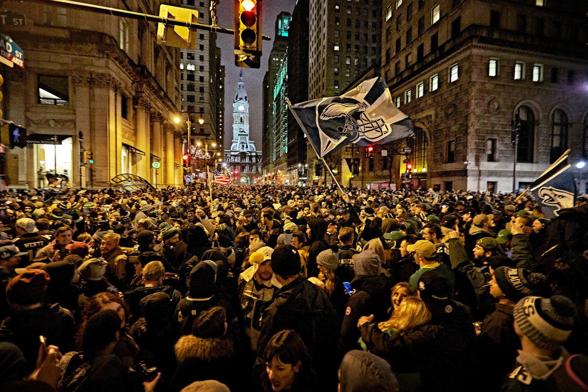 Philadelphians celebrate the Eagles' Super Bowl win over the Patriots in Center City, Philadelphia.