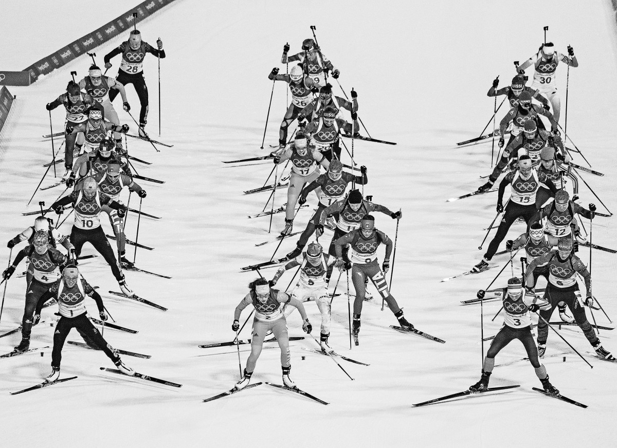 The mass start of the women's 12.5km biathlon at the PyeongChang 2018 Winter Olympic Games