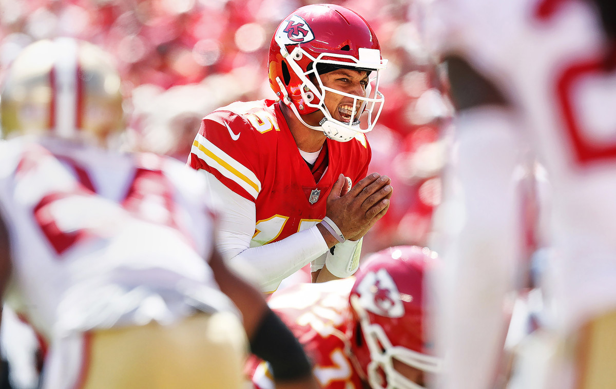 Kansas City Chiefs QB Patrick Mahomes in a game against the San Francisco 49ers