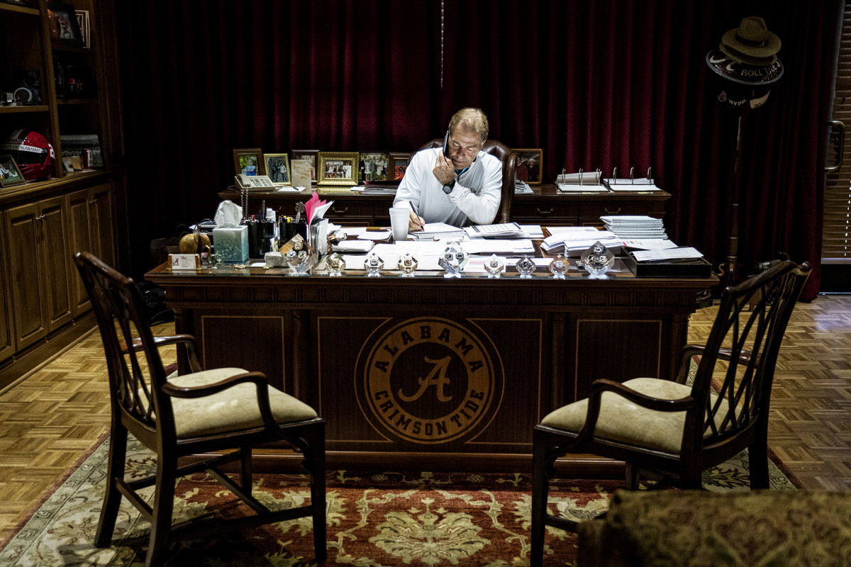 Alabama head coach Nick Saban works from his office
