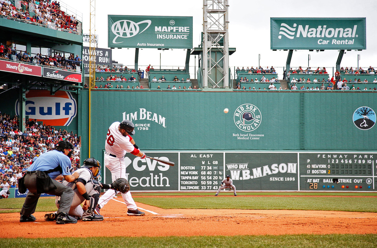 J.D. Martinez (28) of the Boston Red Sox at bat against the New York Yankees