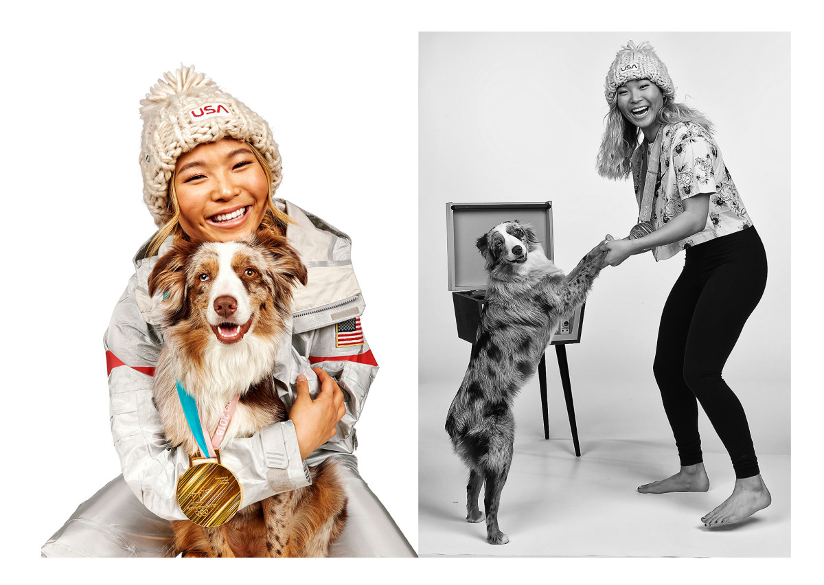 Chloe Kim poses with her dog Reese after the PyeongChang 2018 Olympics.