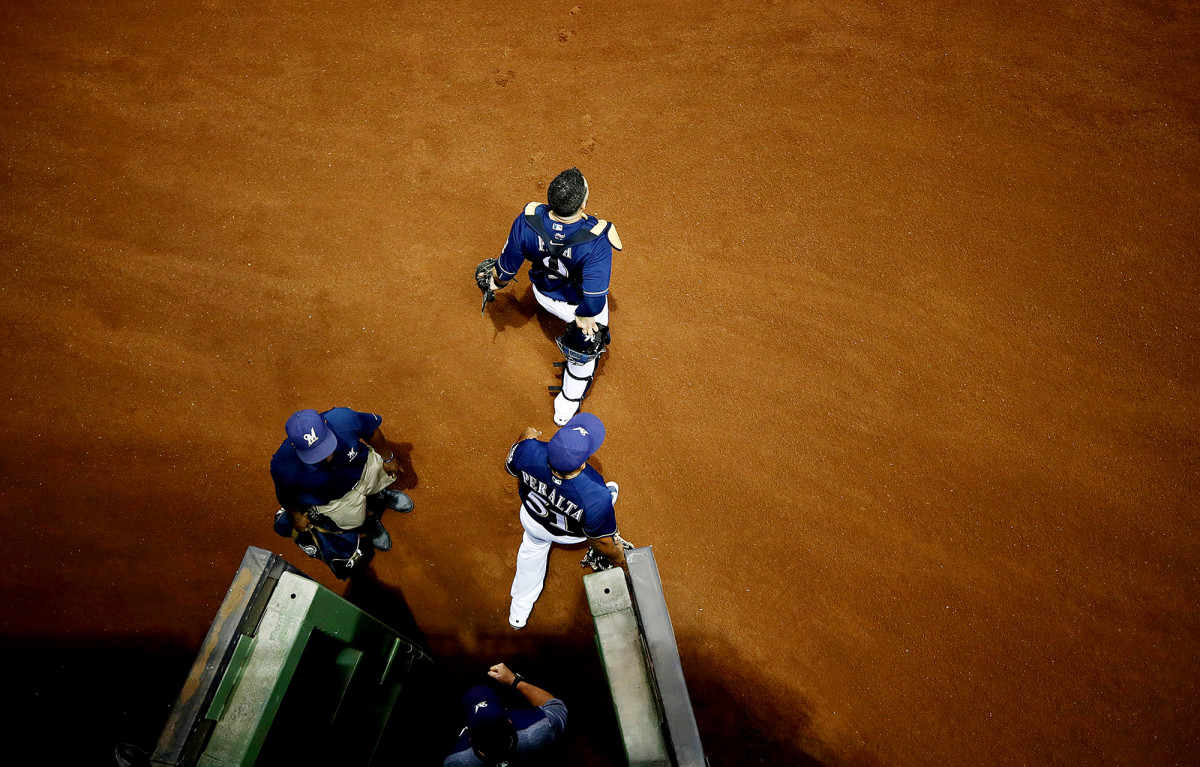 Milwaukee Brewers pitchers on the field before a game vs. the Kansas City Royals