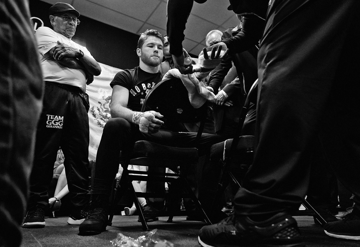 Canelo Alvarez getting his hands wrapped before a fight against Gennady Golovkin for the middleweight world championship at the T-Mobile Arena in Las Vegas