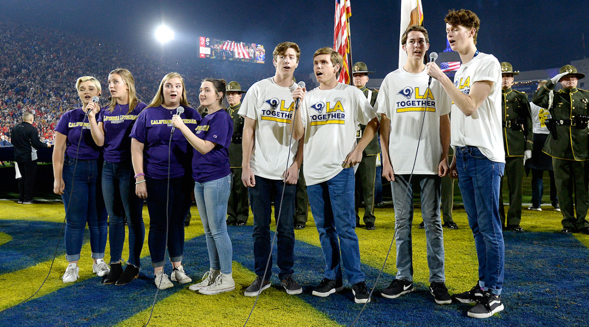 Members of the Cal Lutheran choir sang the national anthem before the start of the game.