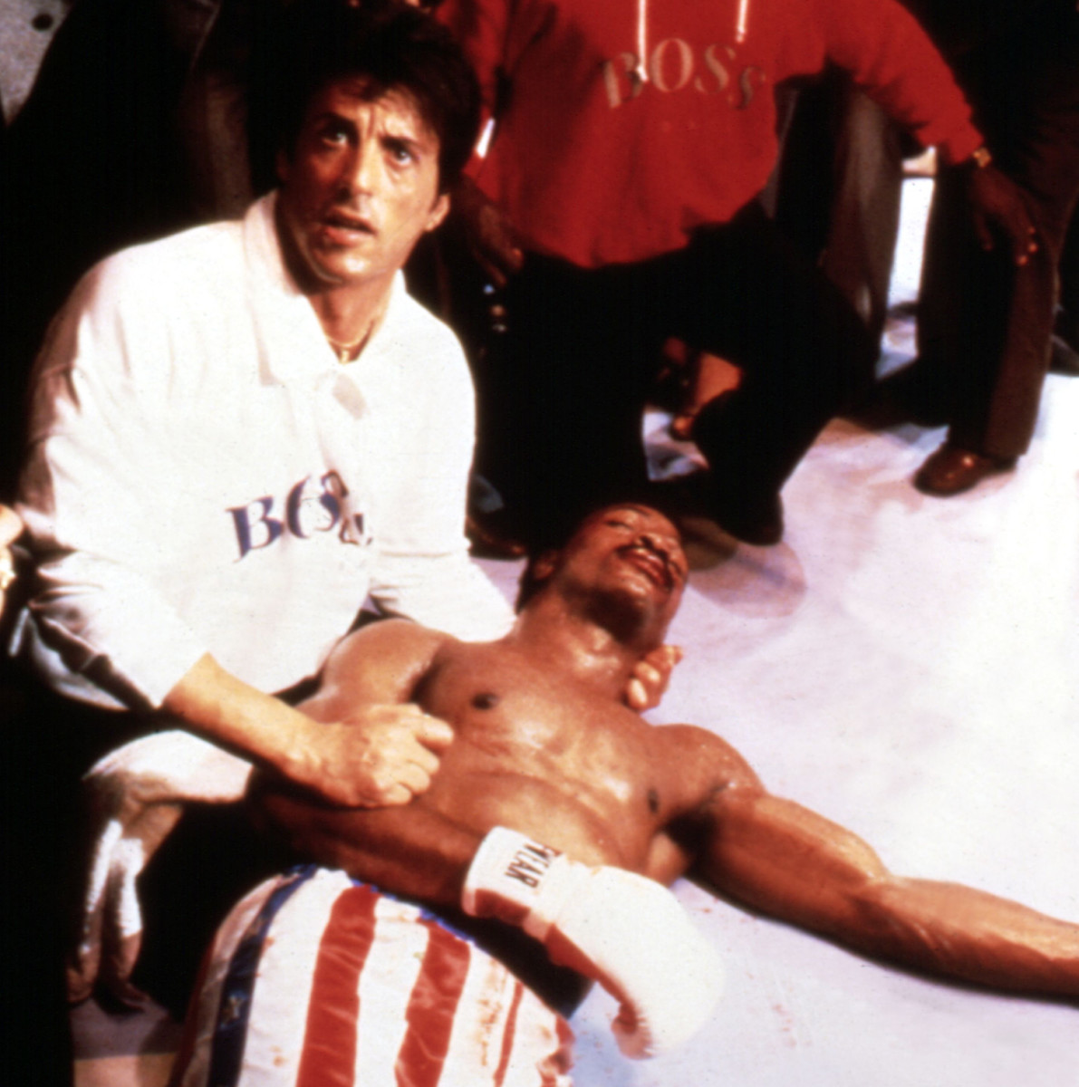 Viktor Drago's father, Ivan, delivered a fatal right hook to Creed's father in Rocky IV, and Apollo died in the ring in Rocky's arms.