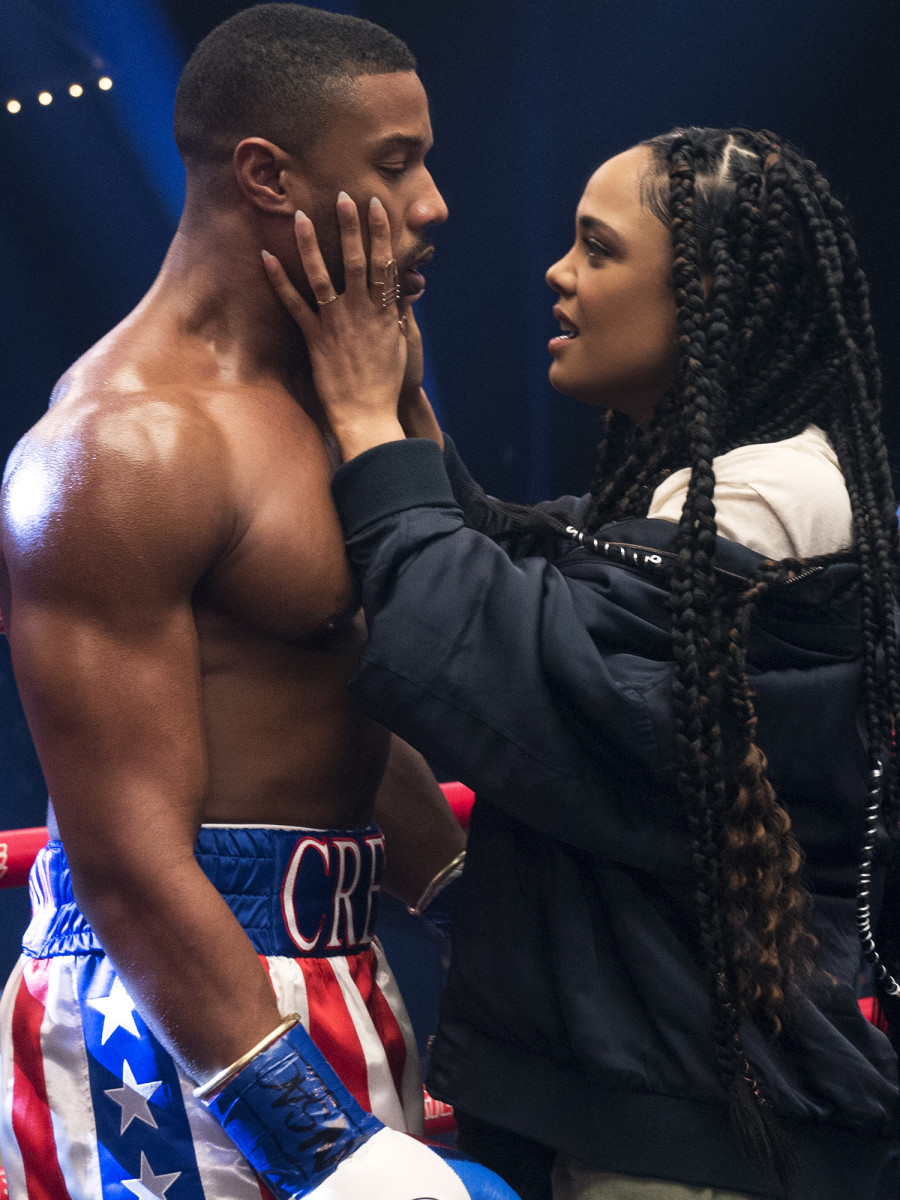 Unlike Rocky's wife, Thompson's character, Bianca, has her own ambitions and doesn't exist solely to prop up Adonis's dreams in the ring.