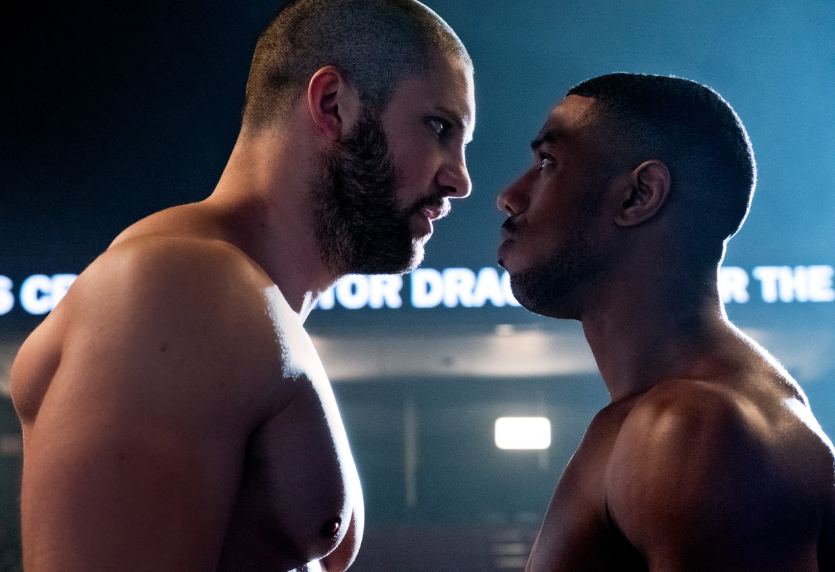 Adonis Creed squres off aganst Viktor Drago in Creed II.
