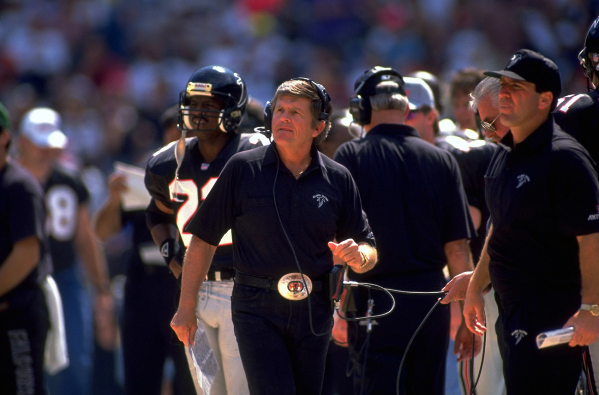 Glanville made his name as a Falcons assistant in the '70s, devising the famed 'Grits Blitz' defense, then strapped on the big buckle as head coach in Atlanta in the early 1990s.