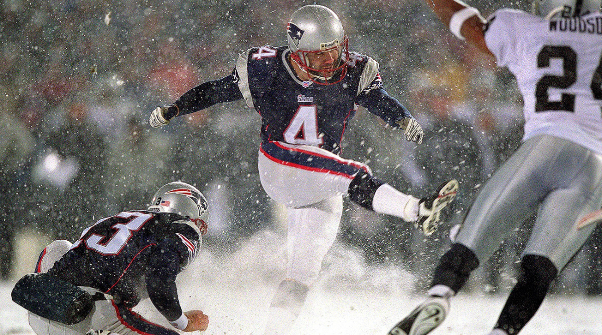 Adam Vinatieri made a 45-yard field goal to send the 2001 AFC divisional game (more commonly known as the Snow Bowl, for obvious reasons, or the Tuck Rule Game) against the Raiders into overtime.