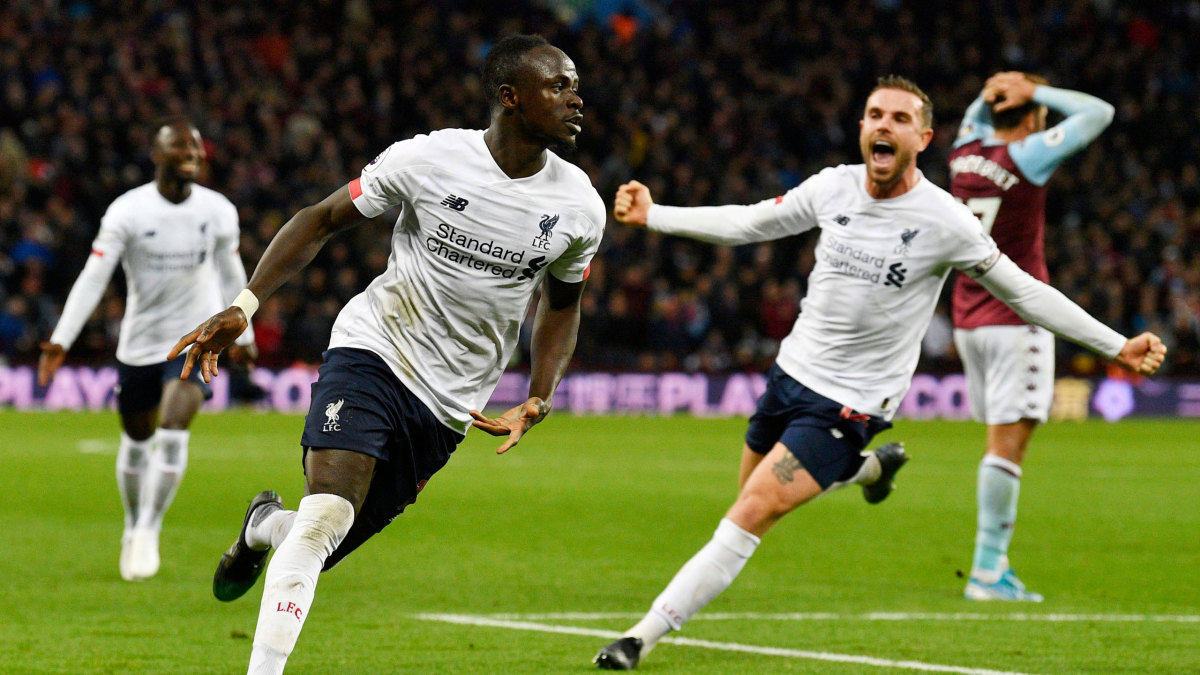Sadio Mane celebrates after scoring the match winner against Aston Villa.