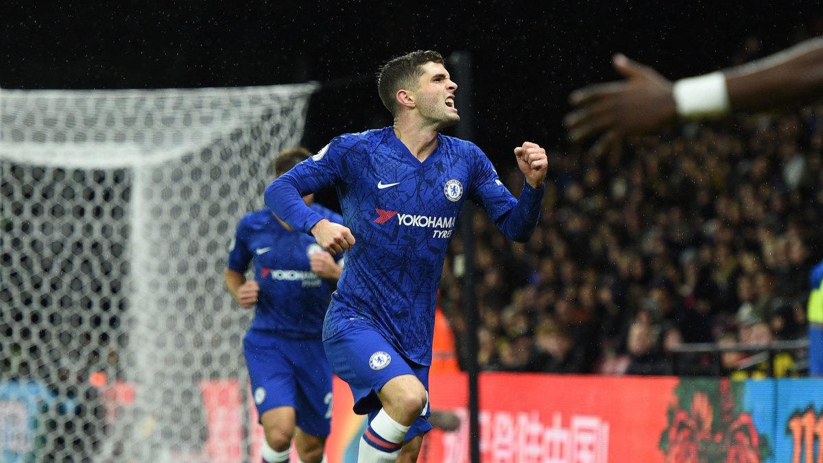 Chelsea's Christian Pulisic celebrates his goal against Watford.