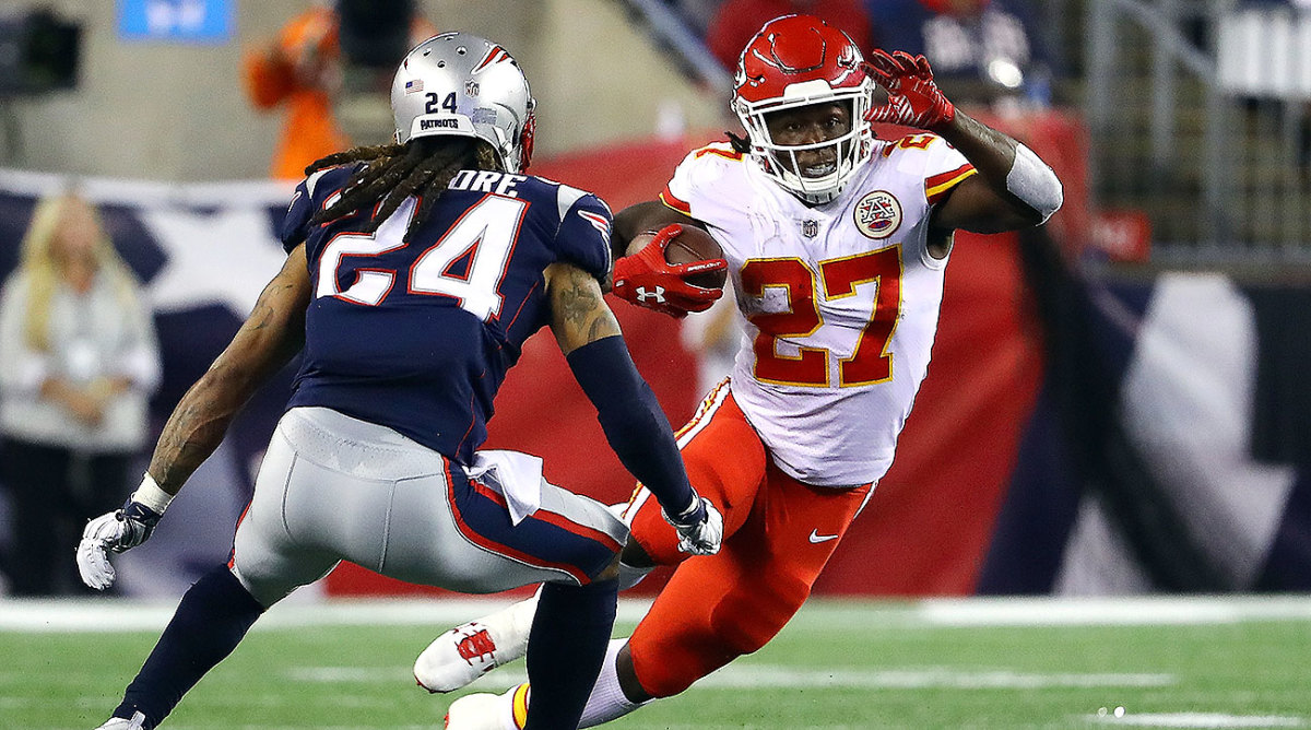 Kareem Hunt tallied 246 yards from scrimmage—the most ever in an NFL debut—and three touchdowns against the Patriots.